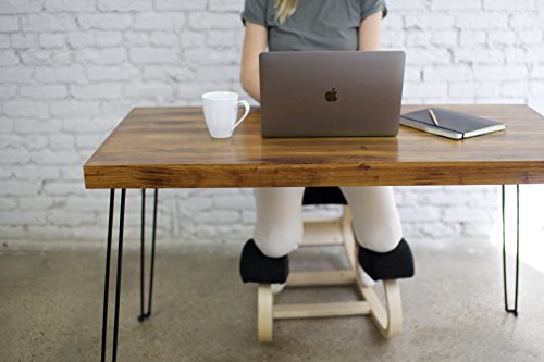 Sleekform Computer Desk | Solid Wood Desk for Writing and Gaming | Stylish Small Rustic Table for Dining or Home (Rustic Metal Table)