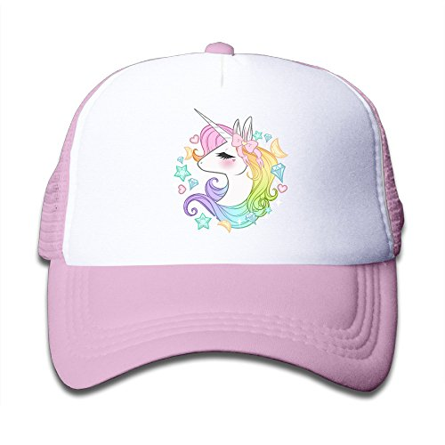Cute Unicorns Kids Mesh Cap Trucker Caps Hat Adjustable Pink (Toddler Pink Hat)