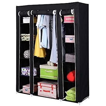 Superb 53u201d Portable Closet Wardrobe Clothes Rack Storage Organizer With Shelf  Black New