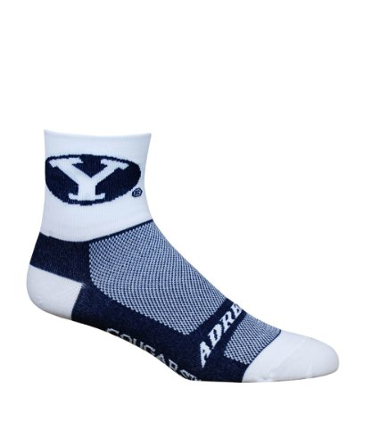 NCAA BYU Cougars Cycling/Running Socks, White, - Young University Brigham Fabric