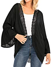 Women's Summer Kimono Cardigans Ruffle Bell Sleeve Lace Cover Up Loose Blouse Tops