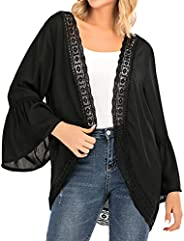 Women's Summer Kimono Cardigans Ruffle Bell Sleeve Lace Cover Up Loose Blouse