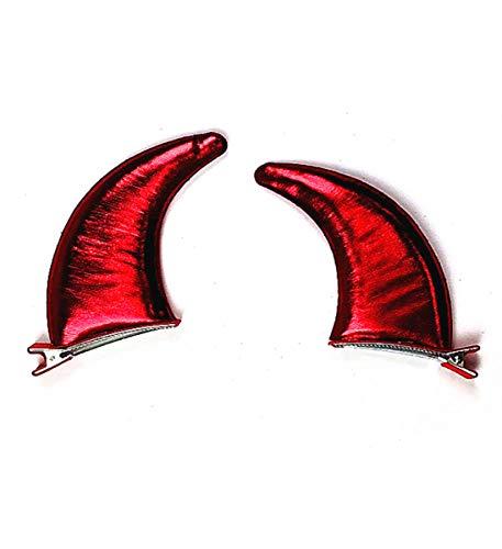 Mozlly Glossy Red Devil Horn Hair Clip (1 Pair - Left & Right Horn) Size: 3