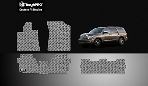 (ToughPRO Floor Mats 1st + 2nd + 3rd Row Compatible with Toyota Sequoia (Bucker Console) - (Made in USA) - Gray Rubber - 2008, 2009, 2010, 2011, 2012, 2013, 2014, 2015, 2016, 2017, 2018, 2019, 2020 )