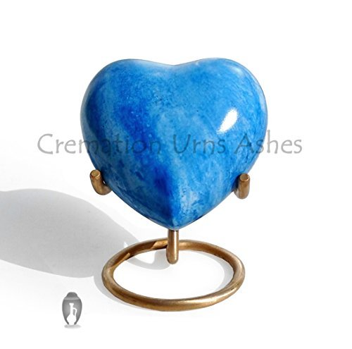 (Brass Made Heart Urn for Keepsake Cremation Ashes (Sky Blue))