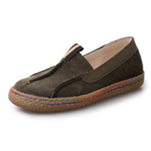 Mocassini Slip-on In Morbida Similpelle Flat In Similpelle Casual Verde Scuro
