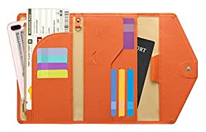 Zoppen Multi-Purpose RFID Blocking Travel Passport Wallet (Ver.4) Tri-fold Document Organizer Holder, 24 Orange