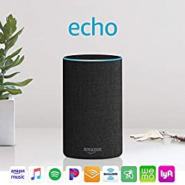 Certified Refurbished Echo (2nd Generation) – Smart speaker with Alexa – Charcoal Fabric
