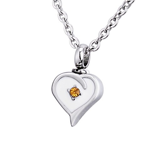 (BY Cremation Ashes Diamond Peach Heart Urn Necklace Holder Memorial Pendant Stainless Steel Waterproof Pendant)