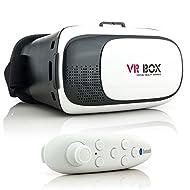 Saxonia 3D VR Lunettes Casque Réalité Virtuelle avec Bluetooth Manette | Universel Vidéo Jeux Simulation pour telephone portable, iPhone 6 6S, Samsung Galaxy S7 S6 Edge, Sony Xperia