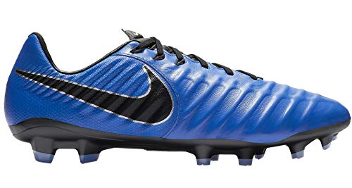 (Nike Men's Legend 7 Pro FG Soccer Cleats (Racer Blue/Black/Metallic Silver) (10))