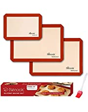 RENOOK Silicone Baking Mats Set of 4, BPA-Free Grade Food Baking mat, 100% Non-Stick Reusable Food Safe Liners & Silicone Brush- Macaron, Pastry, Cookie.