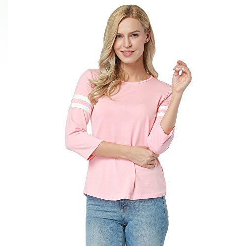 Lover-Beauty Boyfriend Oversized Blouse For Girls Baseball T-Shirt Casual Fall Light Pink (Kids Womens Pink T-shirt)