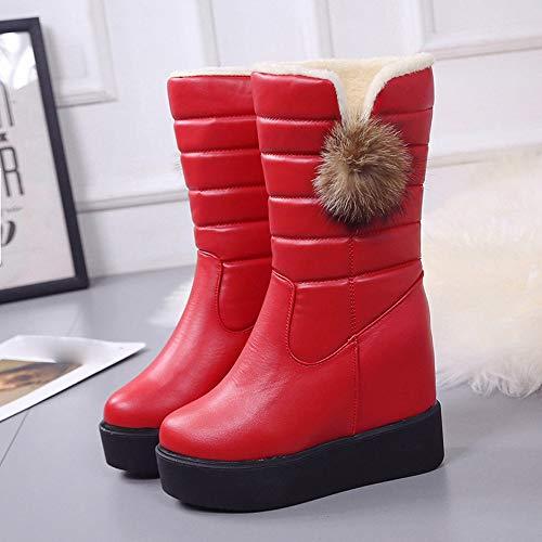 in stivali da donna Stivali neve stivali inverno rotonda velluto con Rosso da punta autunno fondo strass e tiepidi a Vovotrade 67pn8w7