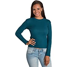 Sweet Vibes Juniors Stretch Thermal Crew Neck Top with Rib Neckline