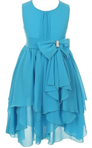 Little Girls Sleeveless Yoryu Chiffon Rhinestone Party Easter Flower Girl Dress Turquoise Size 4 (Girl Rhinestone Party)