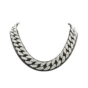 Best Epic Trends 412Vzin5Q8L._SS300_ Mens Iced Out Hip Hop Silver tone CZ Miami Cuban Link Chain Choker Necklace