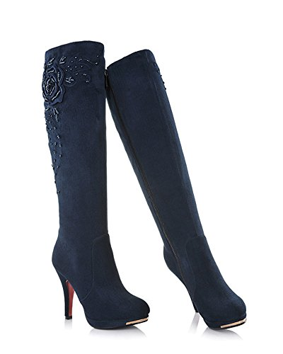 Satin Mode ShallGood Bottes Haut Longue Cavalier Bottines Talon Femme Chaussure Souple Cuissarde Bloc wwzq1A