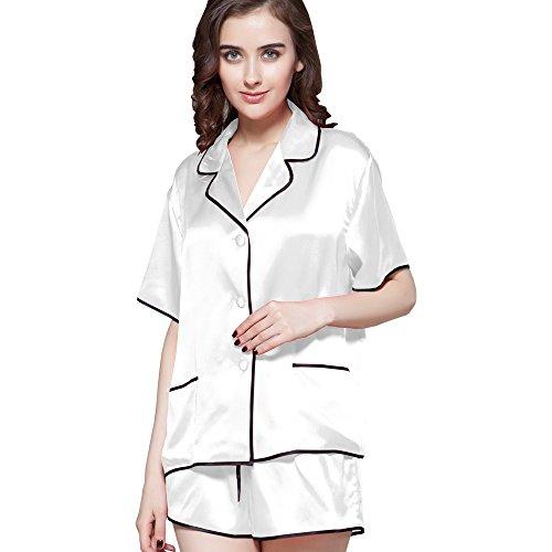 LILYSILK Seta corta Donna momme Set pigiama da 22 di Bianco 8wq8rPx