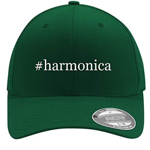 - #Harmonica - Adult Men's Hashtag Flexfit Baseball Hat Cap, Forest, Large/X-Large