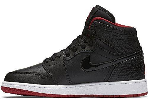 Jordan Nike Kids Air 1 Retro High BG Black/Gym Red/White Basketball Shoe 6 Kids US by Jordan