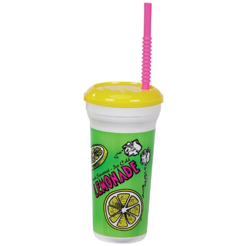 Gold Medal Heavy Duty Lemonade Plastic Cup with Lid & Straw, 32 oz (300 ct.) by Gold Medal (Image #1)
