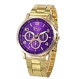 Windoson Women Three Eyes Stainless Steel Sport Hour Wrist Analog Quartz Watch (Purple)