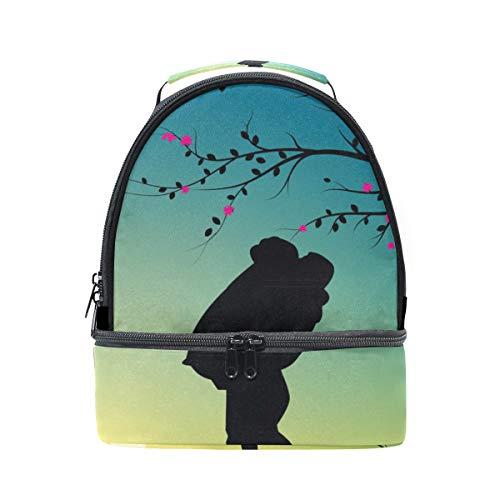Alinlo Couple romantique Kiss Silhouette Boîte à lunch Sac isotherme Cooler Tote avec bandoulière réglable pour Pincnic à l'école