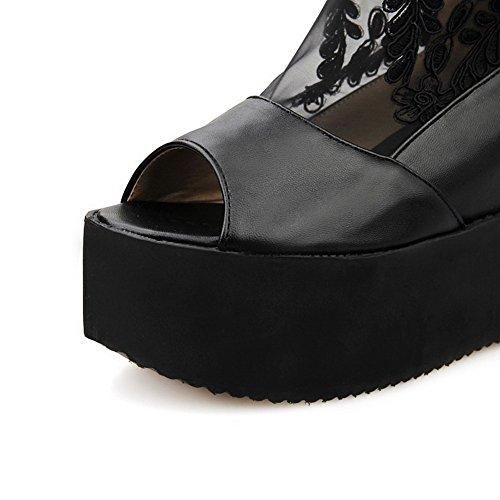 Amoonyfashion Mujeres Zipper Open Toe High Heels Pu Sandalias Sólidas Negro