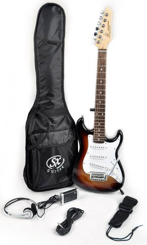 SX RST 1/2 3TS 1/2 Size Short Scale Sunburst Guitar Package with Amp, Carry Bag and Instructional Video Kit 1/2 Scale