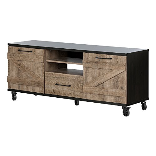 South Shore Valet TV Stand on Wheels (Just Home 60 Weathered Driftwood Tv Stand)