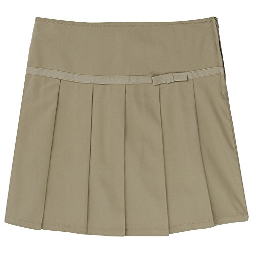 Khaki Pleated Short Washed - French Toast Little Girls' Pleated Scooter With Grosgrain Ribbon, Khaki, 6