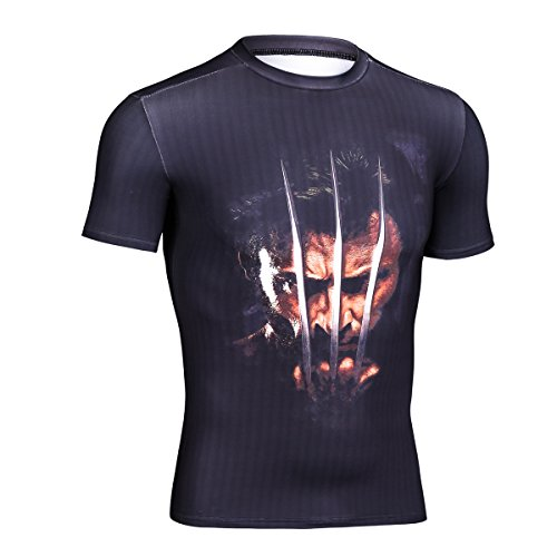 Topway Men's Wolverine Compression Shirt Crewneck Short Sleeve Super Heroes T-shirt Wicking (Medium, Dark Blue)