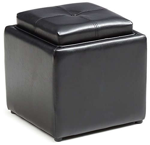 Hodedah Storage Ottoman with Wood Flip Over Tray, Black