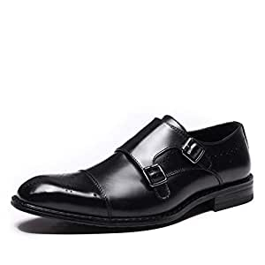 CHENDX Shoes Elegant Oxford for Men Business Dress Anti-Skid Shoes Lace up Genuine Leather Dual Monk Strap Perforated Block Heel Stitching (Color : Black, Size : 6 UK)