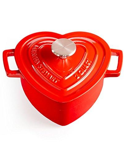 - Martha Stewart Enameled Cast Iron 2-Qt. Heart-Shaped Casserole- Red
