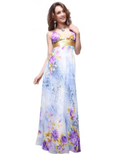 Ever Pretty Charming Floral Printed Empire Line V Neck Long Party Prom Gown 09446, HE09446BL12, Multiple(blue), 10US