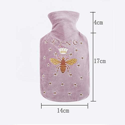 BIGBOBA Wärmflasche mit Weich Flanell Bezug 0.5 Liter Fassungsvermögen Netter Cartoon Kinderwärmflasche Frei von Schadstoffen Size 14 * 21cm (Hellgrau)