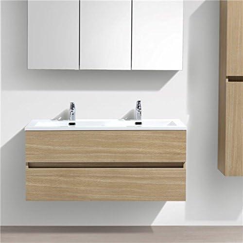 Inconnu Autre Double Vasque /à Poser 160 cm Lavabo Marbre de synth/èse Blanc Salle de Bain