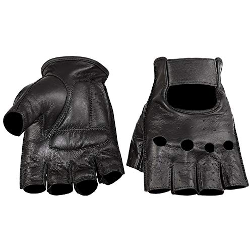 (Viking Cycle Men's Premium Leather Half Finger Touch Screen Motorcycle Gloves (X-Large, Black))