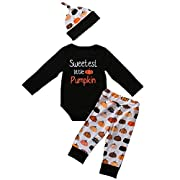 BiggerStore 3Pcs Cute Infant Baby Girl Boy Halloween Clothes Long Sleeve Pumpkin Romper with Hat and Pants Outfits Set (0-6 Months, Black)