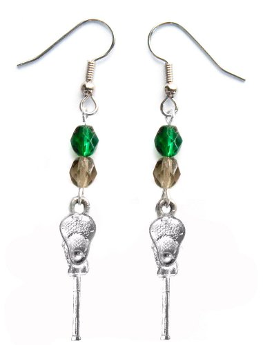''Lacrosse Stick & Ball'' Lacrosse Earrings (Team Colors Forest Green & Grey) by Edge Sports