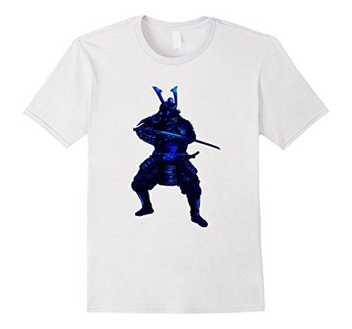 Mens Dark Blue Cold Blood Japanese Samurai Warrior In Armor Shirt 3XL (Samurai Warrior Armor)