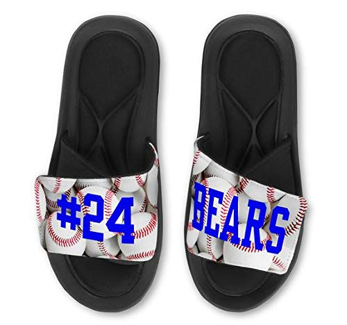Violet Victoria & Fan Star Custom Personalized Baseball Slide Sandals - Add Your Name - ()