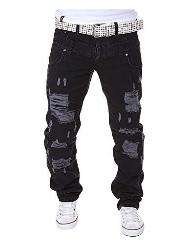 Casuales Los Vendimia Cómodos De Holgados La Largos Con Pantalones Regular Rotos Negro Cómodo Hipster Ajuste Estilo Hombres Battercake xFYwUqfx