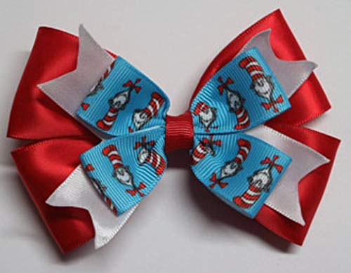 Dr Seuss Day inspired hair bow, Cat in the Hat, red white and blue bow, baby hair bow, story book hair bow -