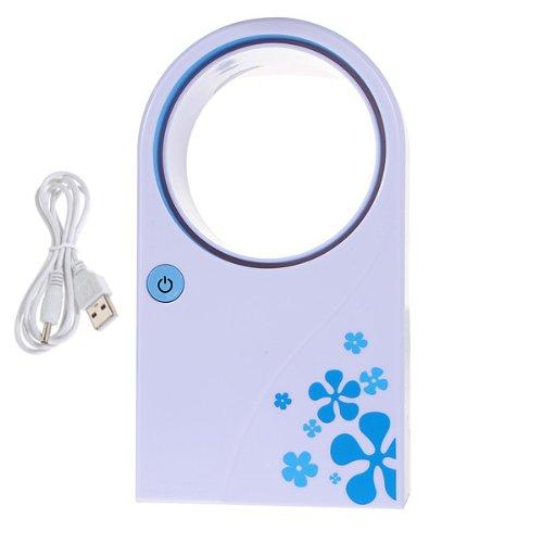 Mini Portable Bladeless Fan No Leaf Air Conditioner w/ USB Cable Desktop Blue (Mini Bladeless Fan compare prices)