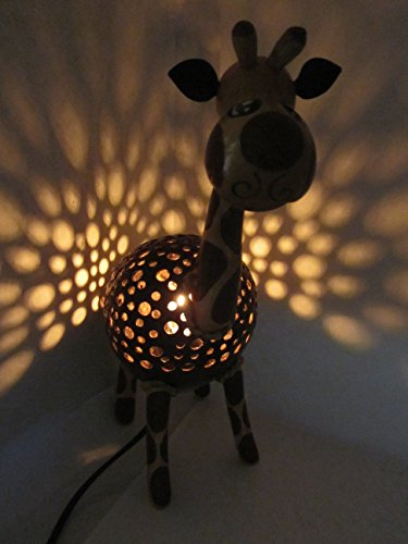Animal Night Light for Kids Wood Coconut Shell Lamp for Bedroom from Thailand (Giraffe) by Blue Orchid (Image #6)