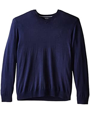 Men's Big-Tall Solid V-Neck Sweater