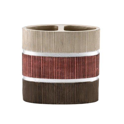 Popular Bath Toothbrush Holder, Modern Line Collection, Burgundy/Brown Stripe